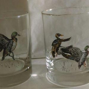 Clear Drinking Glasses With Mallard Ducks